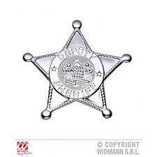 Plata Sheriff Estrella Novedad de utilería Para Vaquero Salvaje Oeste Disfraz Accesorio