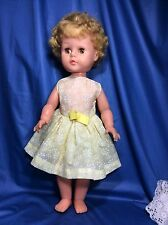 "50's Teenage Roddy Doll 20"" Rubber Head, Long Lashes, Brown Eyes, Lemon Dress."