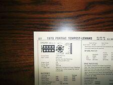 1970 Pontiac Tempest LeMans 265 HP 400 CI V8 2BBL SUN Tune Up Chart Great Shape!