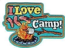 Girl Boy I LOVE CAMP Fire Fun Patches Crests Badges SCOUT GUIDE camper camping