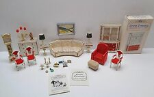 Vintage 1964 Ideal Petite Princess SITTING ROOM COUCH TABLES CHAIR CLOCK CABINET