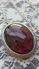Halloween Glitter Blood Red Vampire Amulet Psycho Goth Locket Necklace Pill box