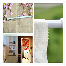 White Spring Loaded Tension Curtain Rod Rail Pole Extendable Telescopic Hanger