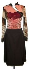 MIU MIU Brown Wool Nylon Inverted Pleat Skirt Sz 42