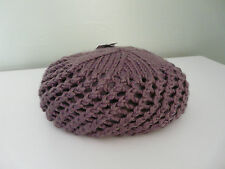 BNWT MONSOON ACCESSORIZE LADIES TAUPE CHUNKY OPEN KNIT RETRO BERET BOHO HAT