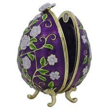 """2.75"""" Purple Garden Flowers Faberge Inspired Easter Egg"""