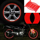 18 Strips Motorcycle Car Wheel Tire Stickers Reflective Rim Tape Red