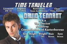 David Tennant Time Traveler fun Doctor Who novelty license for Dr Who Fans