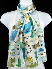 Puppy Dogs Womens Scarf Pet Animal Dog Scarfs Funny Gift Her White Scarves New