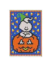 GHOST PUMPKIN~PONY BEAD BANNER PATTERN ONLY
