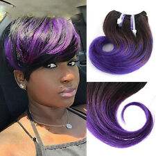 4piece 50g Short Wavy Weave 1B Dark purple Ombre Human Hair Extensions 8inch