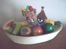 Vtg HAND CARVED banana boat AFRICAN CARIBBEAN souvenir WOOD BLACK DOLLS japan