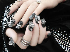 NEW 24 PCS Mysterious black crystal 3D fake false full nails tips Sticker N553