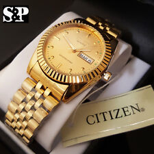 Men Citizen Stainless Steel 24K Gold PT Date, Day Analog Round Metal Band Watch