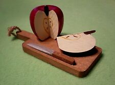 Wooden dollhouse miniatures cut apple & knife on wood cutting board. Hand paint