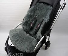 GREY SHEEPSKIN Buggy Pushchair Pram Car Seat Liner Mat Natural Warm&Fluffy