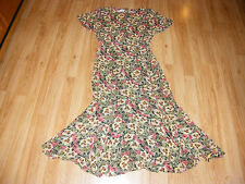 Dana Buchman 100% Silk Floral Orange Moss Green Tan Tulip Flare Hem Dress 6