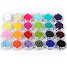 24 Color Velvet Flocking Powder For Acrylic Liquid Nail Art UV Polish Tips Kit