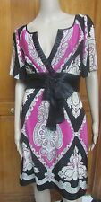 Phoebe Couture Silk Print Dress Ruffled V Neck Knee Length Bow Sash NWT