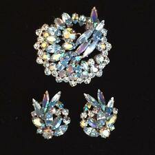 E3515 SHERMAN BLUE RHINESTONE BROOCH AND EARRING SET AURORA BOREALIS