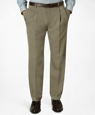 BROOKS Brothers MADISON Pant 33 29 BEIGE Mens LORO Piana WOOL Pleated TROUSER Sz