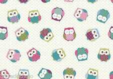 """1.3m/51"""" ROUND oilcloth owls multi wipe clean wipeable pvc TABLECLOTH CO"""