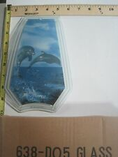 FREE US SHIP OK Touch Lamp Replacement Glass Panel Dolphins Jumping 638-DO5