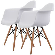 Set of 2 Mid Century Modern Molded Eames Style Dining Arm Chair Wood Legs New