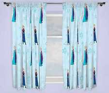 "DISNEY FROZEN 66"" x 54"" LIGHTS CURTAINS SET ANNA ELSA GIRLS KIDS BLUE BEDROOM"