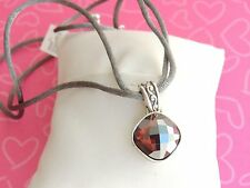 Brighton Necklace Venus Rising GRAY Cord Burgandy Cushion Square Crystal NWT