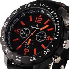 Stylish Oversize Punk Dial Design Men's Luxury Sport Quartz Wrist Watch BLK Band