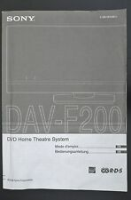 SONY DAV-F200 Original DVD Home Theater System Bedienungsanleitung/Mode D`emploi
