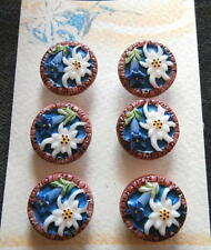 6 Czech Glass Antique (1920's) Buttons on Card #A892 - RARE!!!! EDELWEISS!!!!!!!
