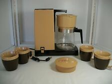 VINTAGE WEST BEND M. WARD BEIGE/BROWN 8 CUP COFFEE MAKER  w/4 cups~ NEW w/BOX