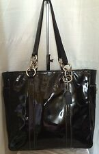 Coach Black Patent leather Tote Purse Silver Chain Link Strap F12838