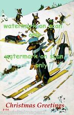 Vintge Christmas Dressed Dachshund Dogs Skiing Downhill~Snow~NEW Lge Note Cards