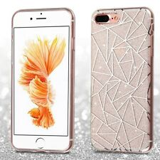 Geometric Lines/Silver Glitter Clear Gummy Phone Cover Case for iPhone 7 Plus