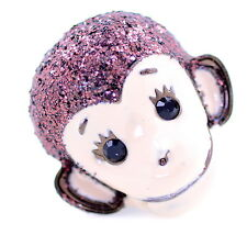 Vintage punk style enamel monkey head stretch ring with glitter