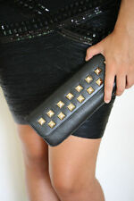 STARK AT HARRODS BLACK LEATHER SILVER STUDDED BAGUETTE CLUTCH MINI BAG