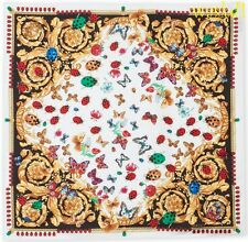 "VERSACE white Ladybugs & Butterflies BAROQUE silk 35""-square scarf NWT Authentic"