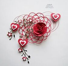 """VALENTINES DAY"" 3D HEARTS, FLOWER & WIRE DESIGN CARD CRAFT TOPPER VAL 05/17"