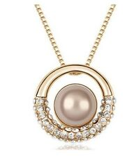 18K YELLOW GOLD PLATED STIMULATED PEARL PENDANT SWAROWSKI CRYSTAL NECKLACE Gift