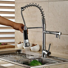 Chrome Swivel Spout Kitchen Sink Faucet Single Hole Pull Down Spray Mixer Tap