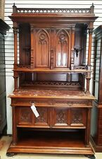 Antique French Gothic Cabinet 1860's Carved Arched Doors Quadrefoils Marble Top