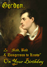 Lord Byron Gothic Romantic Poet  Happy Birthday PERSONALISED Greeting Art Card