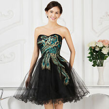 Peacock Feather Design Short Formal Homecoming School Dance Tutu Dress Birthday