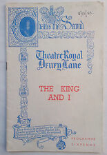 THE KING AND I.MARGARET LANDON.THEATRE ROYAL PROGRAMME 1953.VALERIE HOBSON.H LOM
