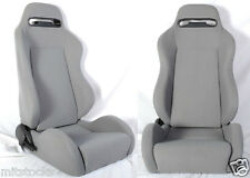 NEW 1 PAIR GRAY CLOTH RACING SEAT RECLINABLE W/ SLIDERS ALL FORD **