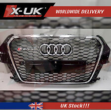 RSQ3 STYLE FRONT HONEYCOMB GRILL GLOSS BLACK WITH CHROME EDGE FOR AUDI Q3 SQ3