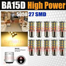 10x BA15D 1142 5050 SMD 27 LED Chip 230LM Warm White Light Bulbs Marine Boat RV